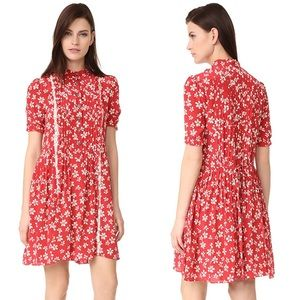 The Kooples Ruffle Floral Dress Red White Silk XS